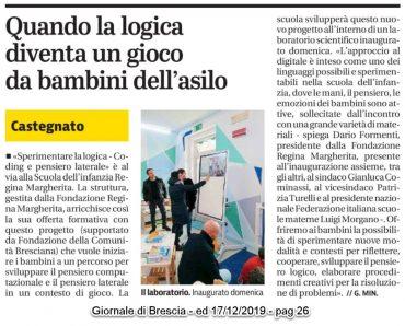 """Inaugurazione Laboratorio e presentazione progetto """"Sperimentare la logica"""" – Giornale di Brescia  17/12/2019 pag. 26"""