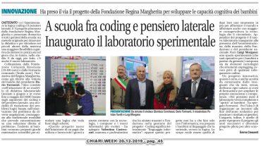 """Inaugurazione Laboratorio e presentazione progetto """"Sperimentare la logica"""" – Chiari week  20/12/2019 pag. 45"""