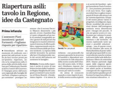 Riapertura asili: tavolo in Regione, idee da Castegnato – Giornale di Brescia  22/05/2020 pag. 15