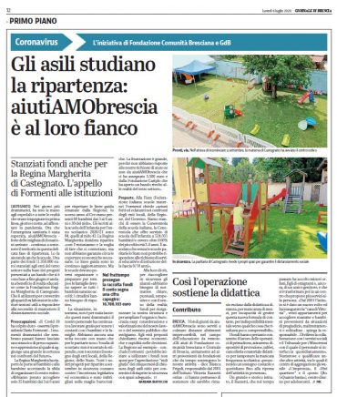 Gli asili studiano la ripartenza: aiutiAMObrescia è al loro fianco – Fondi per il Regina Margherita – Giornale di Brescia  06/07/2020 pag. 12
