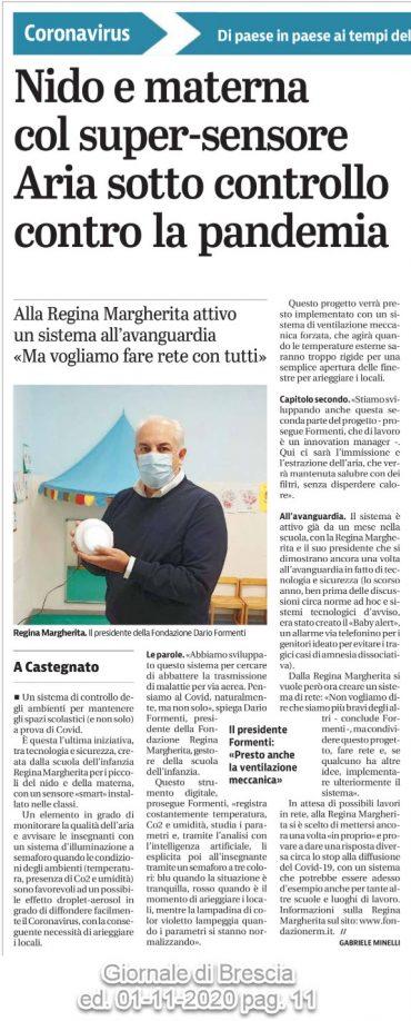 Nido e materna con super-sensore – Aria sotto controllo controllo contro la pandemia – Giornale di Brescia  01/11/2020 pag. 11