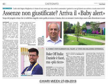 """Assenze non giustificate? Arriva il baby alert"" Chiari week  27/09/2019 pag. 42"