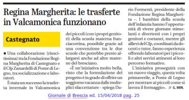 Giornale di Brescia – 15/04/2018 – Socializzazione e laboratori