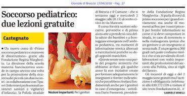 Giornale di Brescia – 17/04/2018 – Primo soccorso