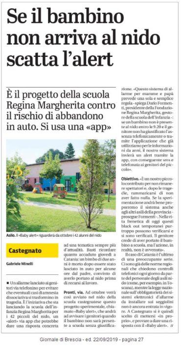 """""""Se il bambino non arriva scatta l'alert"""" Giornale di Brescia 22/09/2019 pag. 27"""